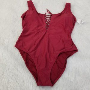 NWT Hot Water Granet Lace Up One Piece Swimsuit